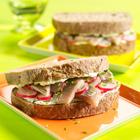 Sandwich met haring en radijs